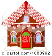 Clipart Gingerbread House With A Candy Cane Roof Royalty Free Vector Illustration by Pushkin