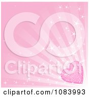 Clipart Pink Sparkly Heart And Ray Background Royalty Free Vector Illustration