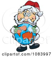 Clipart Santa Holding A Globe Royalty Free Vector Illustration