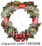 Clipart Christmas Wattle Leaf And Flower Wreath With A Bow Royalty Free Vector Illustration
