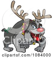 Clipart Christmas Bulldog Wearing Antlers And A Red Nose Royalty Free Vector Illustration by Dennis Holmes Designs