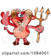 Clipart Devil Faun Holding A Trident And Gesturing Peace Royalty Free Vector Illustration by Dennis Holmes Designs