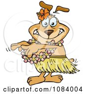 Clipart Hula Dancer Sparkey Dog Royalty Free Vector Illustration