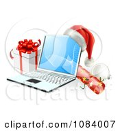 Clipart 3d Christmas Laptop With A Hat Cracker Bauble And Gift Royalty Free Vector Illustration