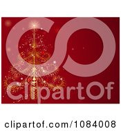 Clipart Ornate Christma Stree On A Red Background Royalty Free Vector Illustration