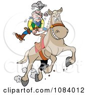 Clipart Bucking Bronco Knocking A Cowboys Teeth Out Royalty Free Vector Illustration by LaffToon