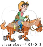 Clipart Cowboy Traveling By Horseback Royalty Free Vector Illustration by LaffToon
