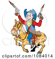 Clipart Cowboy Firing His Guns On Horseback Royalty Free Vector Illustration by LaffToon
