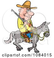 Clipart Cowboy Riding Horseback With A Rifle Royalty Free Vector Illustration by LaffToon