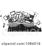 Clipart Bulldozer Pushing People Off Of A Cliff Black And White Woodcut Royalty Free Vector Illustration