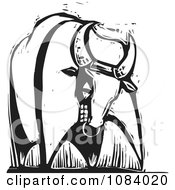 Clipart Tough Bull Black And White Woodcut Royalty Free Vector Illustration