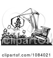 Clipart Crane Picking Up Protestors Black And White Woodcut Royalty Free Vector Illustration by xunantunich