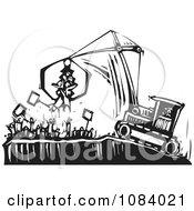 Crane Picking Up Protestors Black And White Woodcut