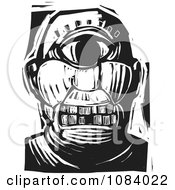 Clipart Cyclops Face Black And White Woodcut Royalty Free Vector Illustration by xunantunich