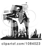 Clipart Person Dancing With Death Black And White Woodcut Royalty Free Vector Illustration by xunantunich