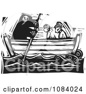 Clipart Grim Reaper Of Death Rowing People In A Boat Black And White Woodcut Royalty Free Vector Illustration