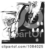 Clipart Grim Reaper Of Death Leading A Girl Up Stairs Black And White Woodcut Royalty Free Vector Illustration by xunantunich