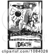 Grim Reaper Of Death Tarot Card Black And White Woodcut