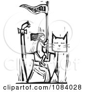 Clipart Girl Riding A Giant Cat Black And White Woodcut Royalty Free Vector Illustration