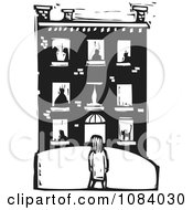 Clipart Girl Facing A Building With People In The Windows Black And White Woodcut Royalty Free Vector Illustration