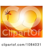 Clipart Orange Palm Tree And Hilly Desert Sunset Royalty Free CGI Illustration