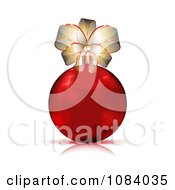 Clipart 3d Red Christmas Bauble With A Gold Bow Royalty Free Vector Illustration by MilsiArt