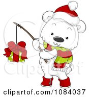 Clipart Christmas Polar Bear Fishing A Gift Royalty Free Vector Illustration by BNP Design Studio
