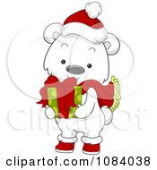 Clipart Christmas Polar Bear Holding A Gift Royalty Free Vector Illustration by BNP Design Studio