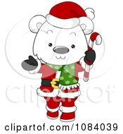 Clipart Christmas Polar Bear Santa Holding A Candy Cane Royalty Free Vector Illustration by BNP Design Studio
