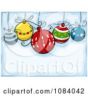 Clipart Blue Christmas Background With Cartoon Baubles Royalty Free Vector Illustration by BNP Design Studio