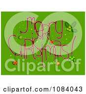 Clipart Red Merry Christmas Greeting On Green Royalty Free Vector Illustration