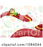 Clipart Stick Girl On A Merry Christmas Scarf Over Bubbles Royalty Free Vector Illustration