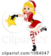 Clipart Christmas Pinup Woman Holding A Star Royalty Free Vector Illustration