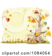 Clipart Autumn Tree And Yard Royalty Free Vector Illustration