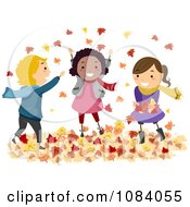 Clipart Stick Children Playing In Autumn Leaves Royalty Free Vector Illustration