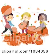 Clipart Stick Children Playing With Pumpkins Royalty Free Vector Illustration