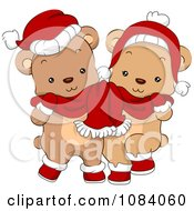 Clipart Cute Christmas Bears Sharing A Scarf Royalty Free Vector Illustration by BNP Design Studio