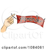 Clipart Hand Holding A Reminder Ribbon Royalty Free Vector Illustration