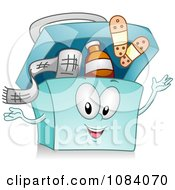 Clipart Blue First Aid Kit Character Royalty Free Vector Illustration by BNP Design Studio