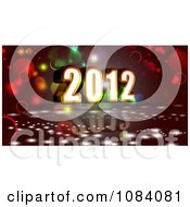 Clipart 3d 2012 New Year With Bubbles On Red Royalty Free CGI Illustration
