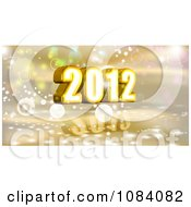 Clipart 3d Gold 2012 New Year With Bubbles Royalty Free CGI Illustration