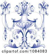 Clipart Ornate Purple Vase With Flowers And Bows Royalty Free Vector Illustration by pauloribau