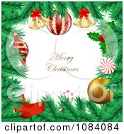 Clipart Merry Christmas Greeting Framed With Fir Christmas Tree Branches Royalty Free Vector Illustration by vectorace