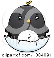 Clipart Chubby Penguin Chick On A Shell Royalty Free Vector Illustration
