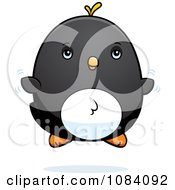Clipart Chubby Penguin Chick Flying Royalty Free Vector Illustration