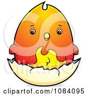 Clipart Chubby Phoenix Chick On A Shell Royalty Free Vector Illustration