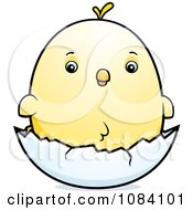 Clipart Chubby Chicken Chick On A Shell Royalty Free Vector Illustration