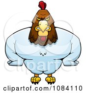Clipart Muscular Rooster Royalty Free Vector Illustration by Cory Thoman
