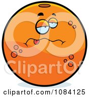 Clipart Sick Navel Orange Character Royalty Free Vector Illustration