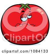 Clipart Sick Tomato Character Royalty Free Vector Illustration
